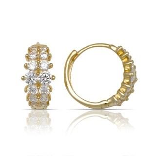 10K Yellow Gold Double-row Round Cubic Zirconia Hinged Hoop Earrings (5mm x12mm) - Orange