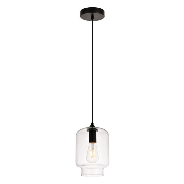 Placido Collection Pendant D6.7 H9.2 Lt:1 Black and Clear Finish