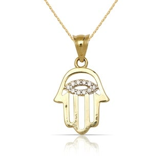 10K Yellow Gold Small Cubic Zirconia Hand of God Hamsa Pendant Necklace (16-inch) - White