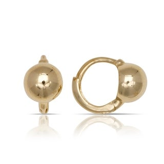 10K Yellow Gold Small Polished Ball Children's Hinged Hoop Earrings (5mm x 9mm) - Orange