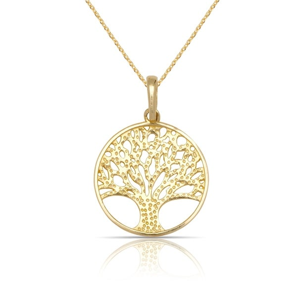 Shop 10k yellow gold small textured tree of life circle pendant 10k yellow gold small textured tree of life circle pendant necklace 16 aloadofball Gallery