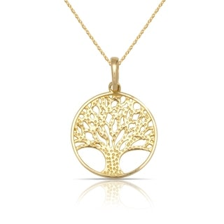 "10K Yellow Gold Small Textured Tree of Life Circle Pendant Necklace (16"") (12mmx18mm)"