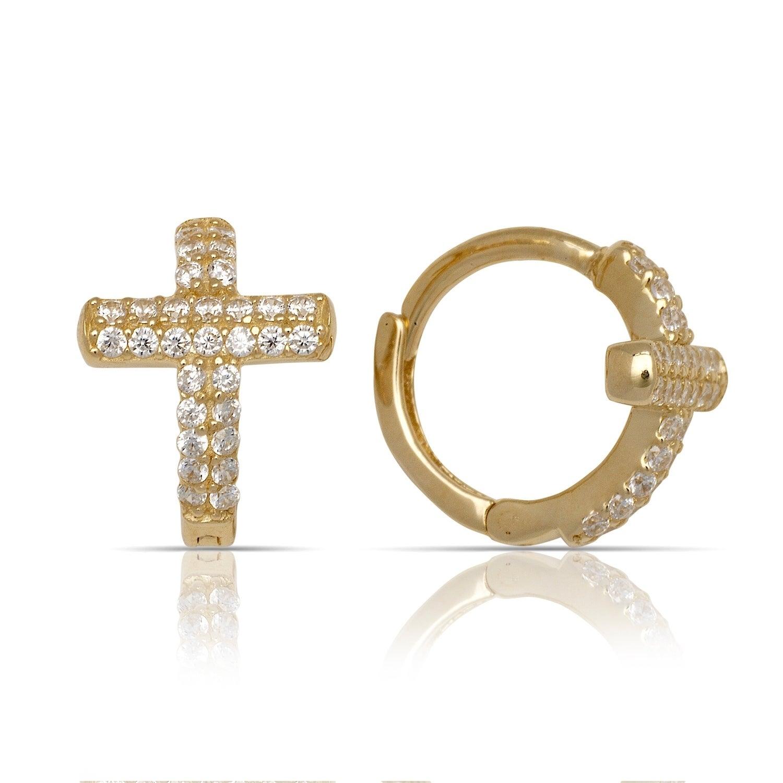 Cross Cubic Zirconia Stud Earrings 10Kt Gold