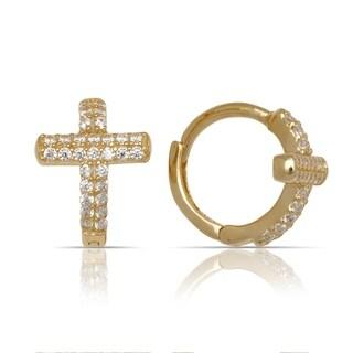 10K Yellow Gold Cubic Zirconia Cross Hinged Small Hoop Earrings (9mm x12mm) - Orange