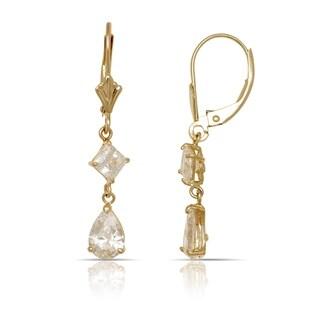 10K Yellow Gold Princess and Pear Cubic Zirconia Dangle Drop Leverback Earrings (5mm x 32mm) - Orange
