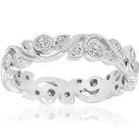 Bliss 14k White Gold 1/4 ct TDW Diamond Vintage Filigree Petal Leaf Eternity Wedding Ring