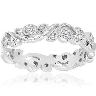 Bliss 14k White Gold 1/4 ct TDW Diamond Vintage Filigree Petal Leaf Eternity Wedding Ring