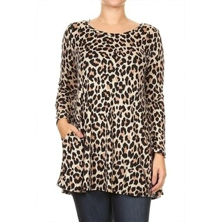 Women's Plus Size Cheetah Pattern Tunic (Option: Khaki)