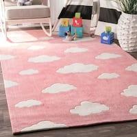 nuLoom Clouds Pink/Off-white Handmade Kids' Nursery Rug (6' x 9')
