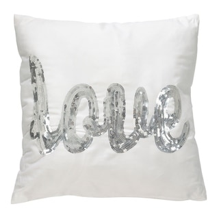Metallic Sequin 'LOVE' Script Poly Filled Throw Pillow