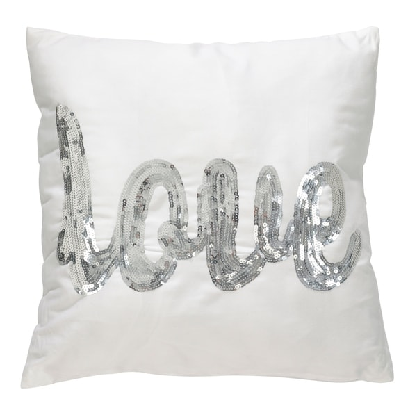 Metallic Sequin 'LOVE' Script Poly Filled Throw Pillow