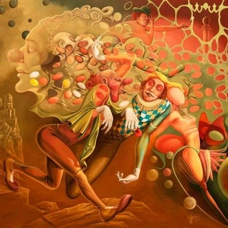"""""""Clown dreaming of queen"""" by Justin Ghita, Canvas Giclee Wall Art"""