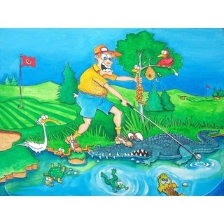 """Golf animals"" by Steve Gill, Canvas Giclee Wall Art"