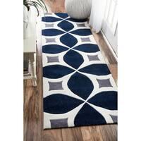 Palm Canyon Kona Handmade Navy Runner Rug (2'6 x 6')