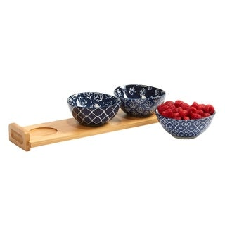 Certified International Blue Indigo 4 PC Serving Set with Bamboo Tray