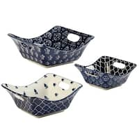 Certified International Blue Indigo 3 PC Square Bowl Set