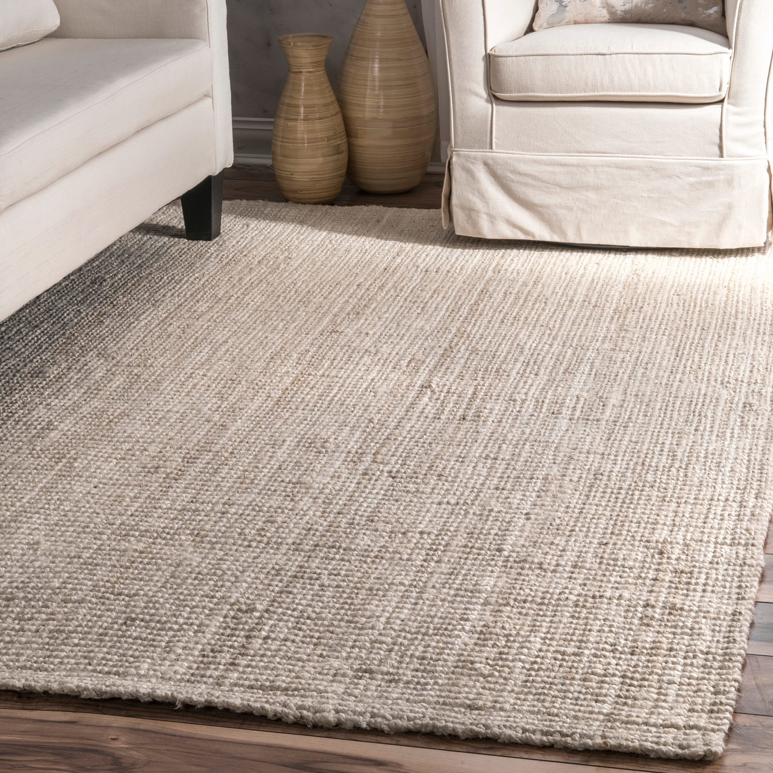 Havenside Home Coopers Hand Woven Natural Fiber Jute Sisal Ribbed Solid Bleached Area Rug