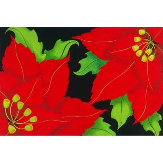 """Red Poinsettia"" by Carol Sabo, Canvas Giclee Wall Art"