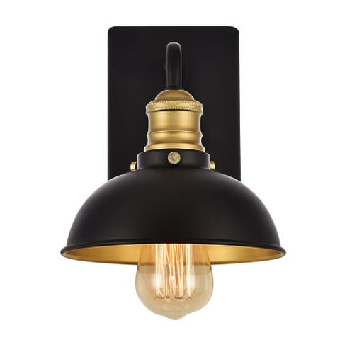 Anders Collection Wall Sconce D7.1 H8.3 Lt:1 Black and Brass Finish
