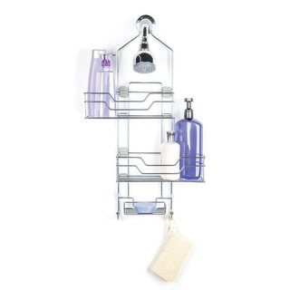 Richards Homewares Bridgeport Sideway Adjustable Caddy with 2 Large Shelves + 1 Dish for Bar Sop -2 Hanging Hooks