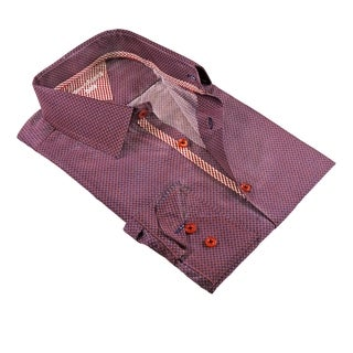 Checked Contrast on Placket, Collar, and Cuffs Modern-Fit Men's Shirt