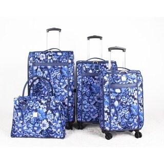 Isaac Mizrahi Lantana Blue Foral 4-piece Spinner Luggage Set