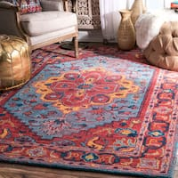 nuLoom Traditional Streaky Floral Medallion Red Wool Handmade Rug - 7'6 x 9'6
