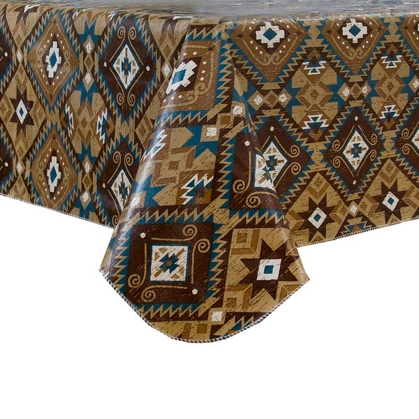 Santa Fe Vinyl Tablecloth with Polyester Flannel Backing