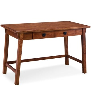 Leick Furniture Mission Oak Wedge Corbel Laptop/Writing Desk with Center Drawer