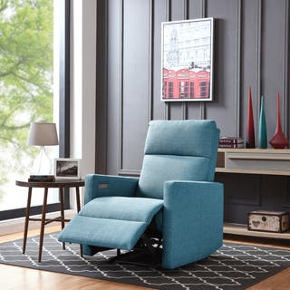 Carson Carrington Mosfellsdalur Turquoise Blue Power Wall Hugger Recliner Chair with USB Port