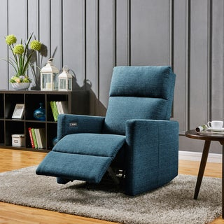 Carson Carrington Skorping Blue Power Wall Hugger Recliner Chair with USB Port