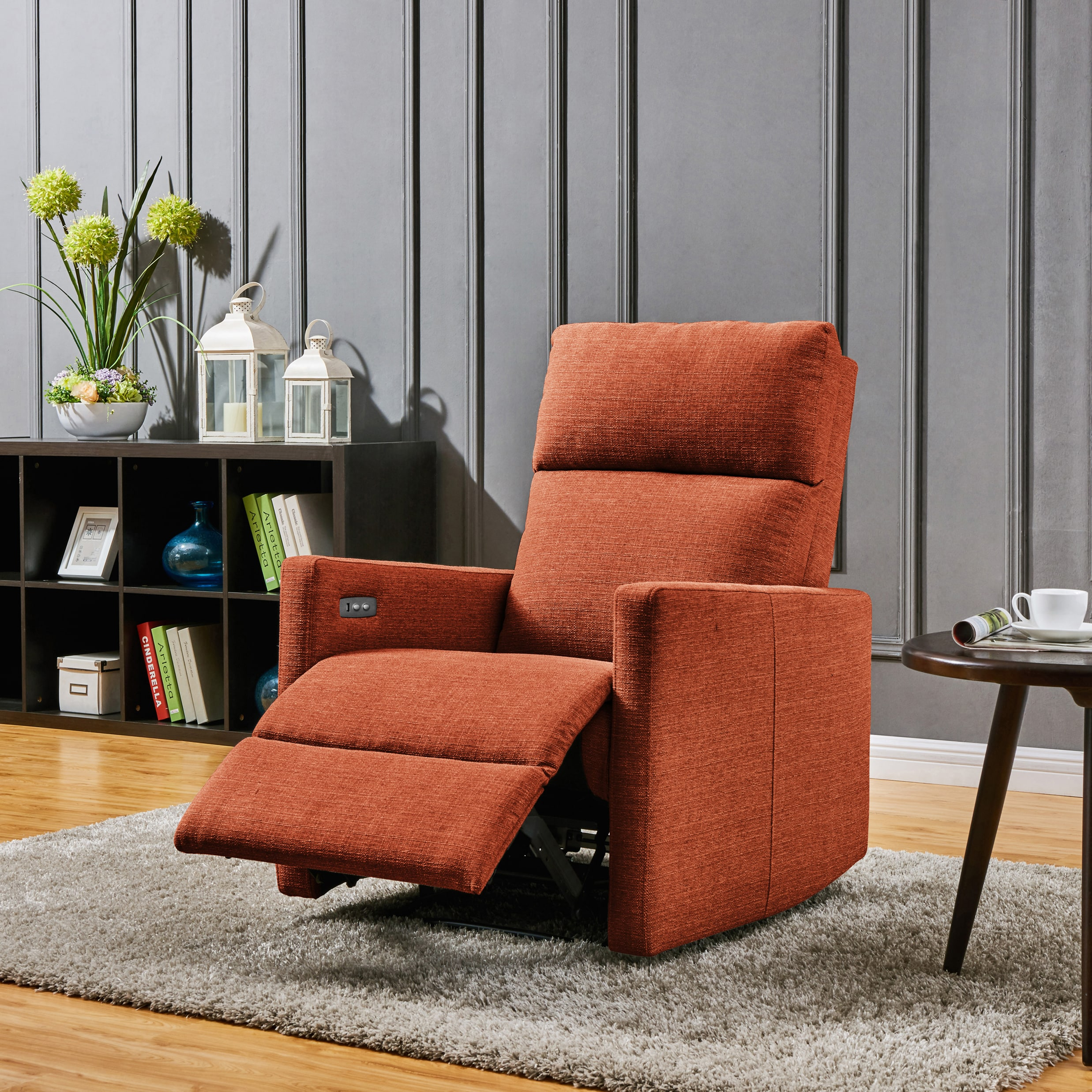 Superbe ProLounger Orange Power Wall Hugger Recliner Chair With USB Port
