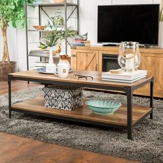 Rustic Angle Brown Barn Wood Iron 48-inch Coffee Table