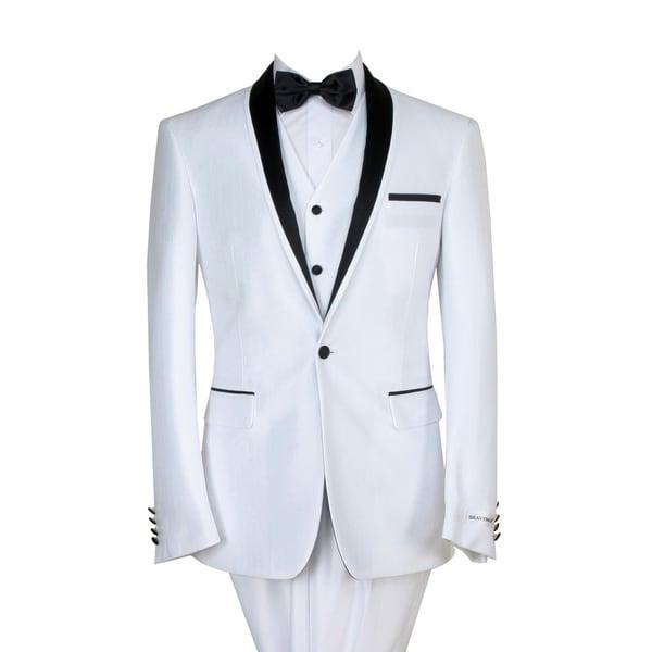 455c2720e2d Shop Braveman Men's Slim Fit 3 Piece Tuxedo - Free Shipping Today -  Overstock - 18064167