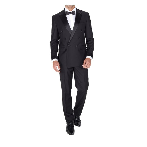 6a336b5ba3a Shop Braveman Men's Double Breasted Slim Fit 2 Piece Tuxedo - Free Shipping  Today - Overstock - 18064169