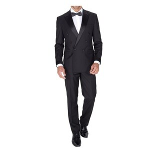 Braveman Men's Double Breasted Slim Fit 2 Piece Tuxedo