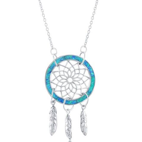 La Preciosa Sterling Silver Created Blue Opal Stone Dream Catcher 16+2'' Necklace