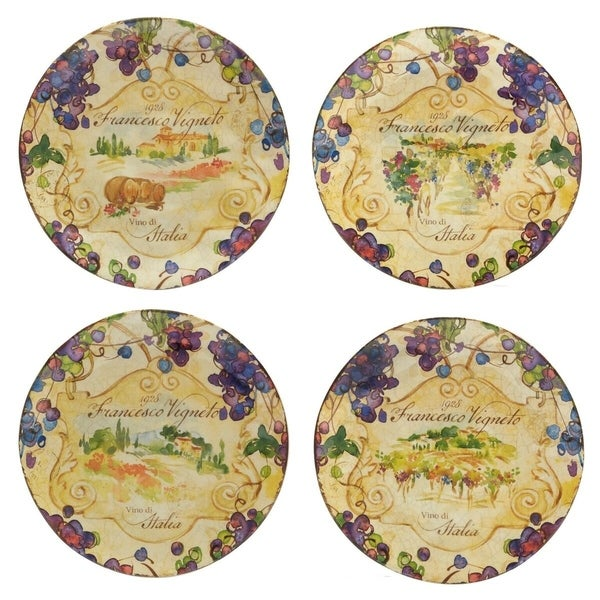 Certified International Vino Dessert Plates Set of 4 Assorted Designs