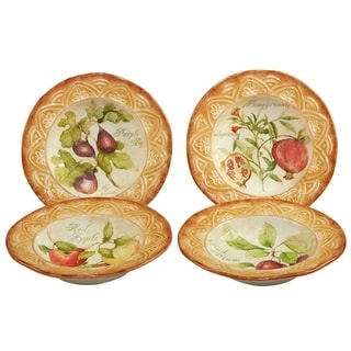 Certified International Tuscan Fruit Soup, Pasta Bowl Assorted Designs Set of 4