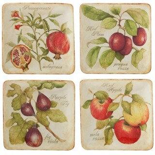 Certified International Tuscan Fruit Canape Plate in Assorted Designs Set of 4