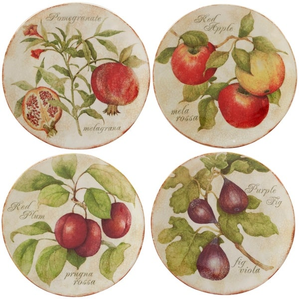 Certified International Tuscan Fruit Salad Plate in Assorted Designs Set of 4