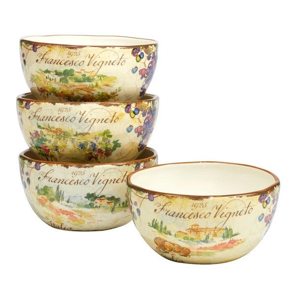 Certified International Vino Ice Cream Bowl Assorted Designs Set of 4