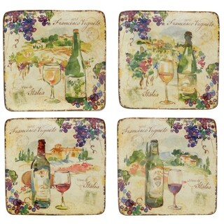 Certified International Vino Canape Plates Set of 4 Assorted Designs