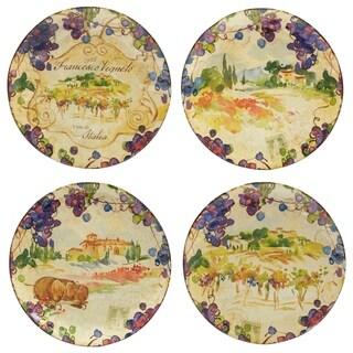 Certified International Vino Dinner Plates Set of 4 Assorted Designs