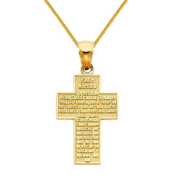 14K Yellow Gold Padre Nuestro Religious Cross Charm Pendant For Necklace or Chain