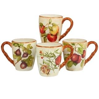 Certified International Tuscan Fruit 20 oz Mugs in Assorted Set of 4