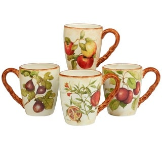 Certified International Tuscan Fruit 20 oz Mugs in Assorted Set of 4