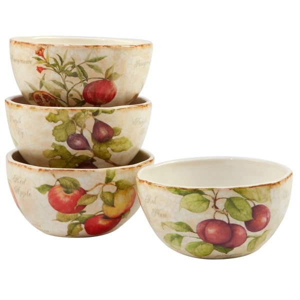 Certified International Tuscan Fruit 6 inch Assorted Designs Ice Cream Bowl Set of 4