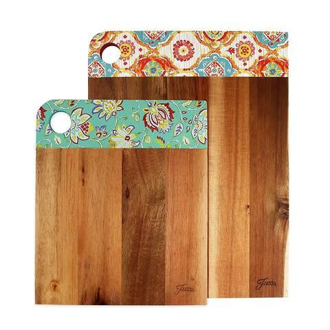Fiesta 2 Piece Acacia Wood Patterned Cutting Board Set