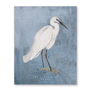 Kavka Designs The Great Blue Heron Blue/White/Orange Canvas Art